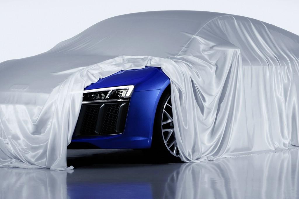 Ein Tröpfchen Neuheit: Der Audi R8 erhält optional Laserlicht.